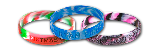 Silicone wristbands swirled