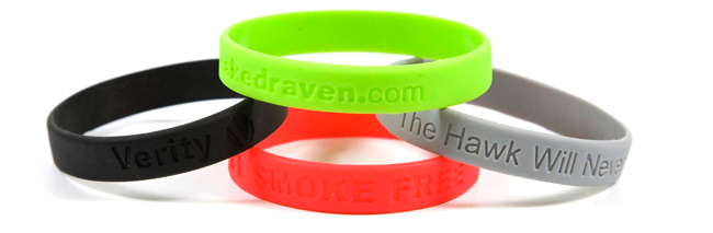 Silicone wristbands debossed