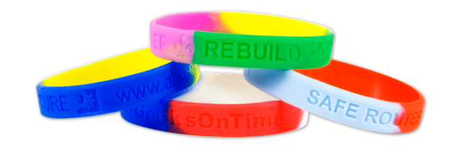 Silicone wristbands segmented